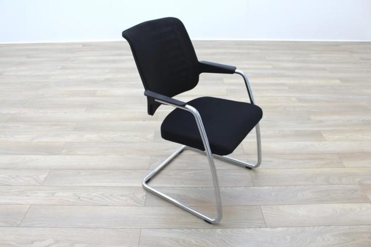 Girsberger Black Mesh Back Fabric Seat Office Meeting Chairs