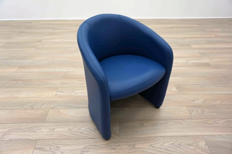 Blue Leather Office Reception Tub Chairs & Blue Leather Office Reception Tub Chairs - Blue