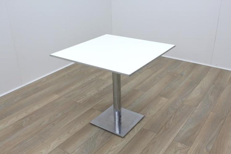 Square White Table Aluminium Edge 800mm