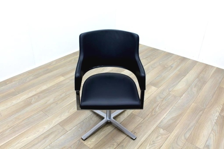 Brunner Black Leather Self Centering Executive Meeting Chair