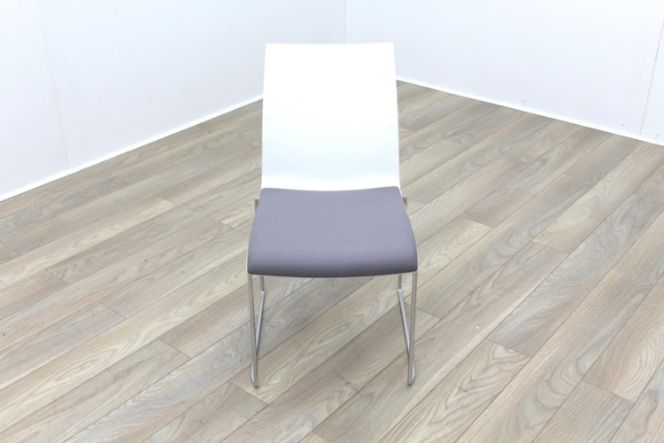 Brunner Blue and White Back with Grey Leather Seat Meeting Chair
