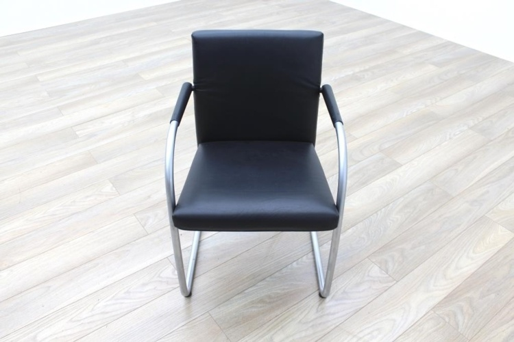 Vitra Visasoft Black Leather Cantilever Office Meeting Chairs