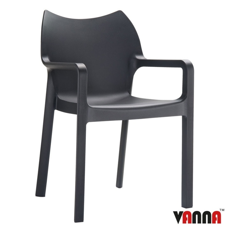 New Black Moulded Plastic Stacking Office Canteen Cafe Bistro Meeting Arm Chairs