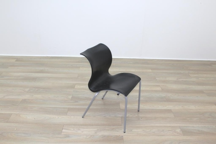 Black Polymer Stacking Office Canteen Chair