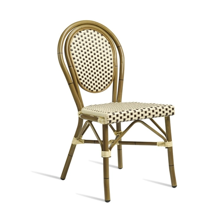 New Brown & Cream Aluminium Cane Effect Wicker Weave Canteen Cafe Bistro Dining Chairs