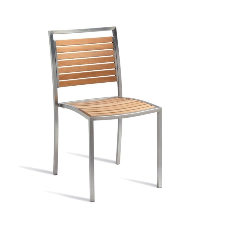 New BUZZ Teak Slatted Stainless Steel Frame Stacking Canteen Café Side Chair