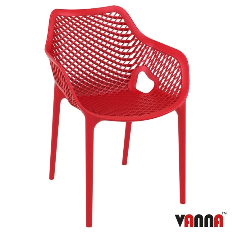 New Red Reinforced Polypropylene & Glass Fibre Stacking Office Canteen Cafe Bistro Arm Chairs