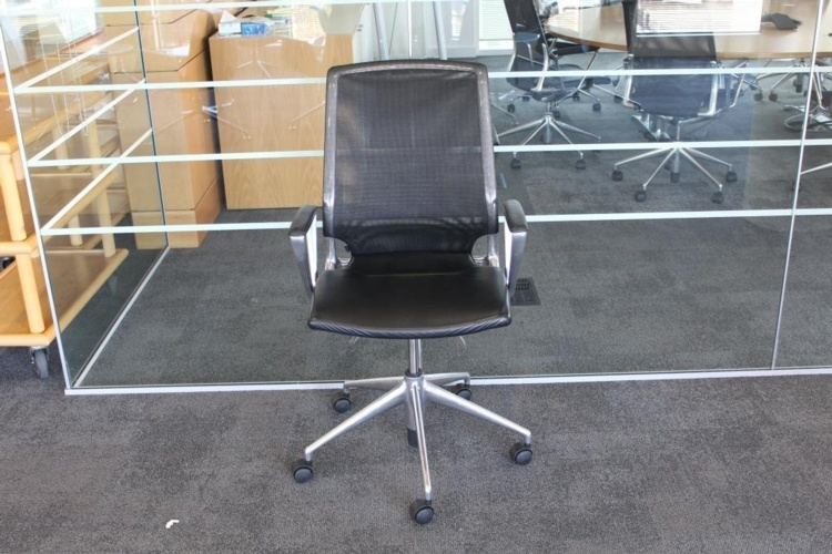 Black Vitra Meda Meeting Chair With Leather Seat And Mesh Back