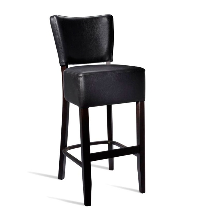 New CLUB Wenge Black high quality faux leather Luxurious Bar Stool