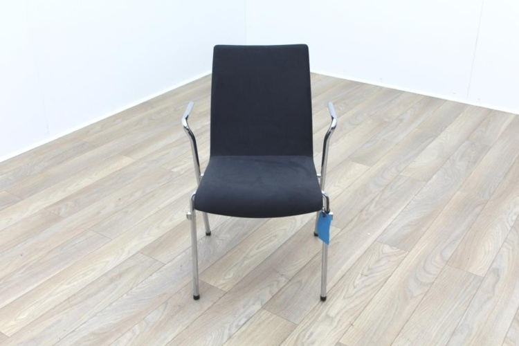 Brunner Grey Velour Meeting Chair with Armrests