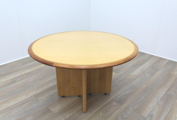 Maple round table with walnut inlay