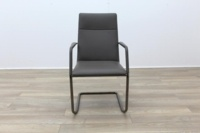 Brunner Grey Leather Cantilever Meeting Chair - Thumb 4