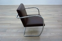Knoll Studio Brno by Mies Van Der Rohe Brown Leather Executive Office Meeting Chairs - Thumb 4