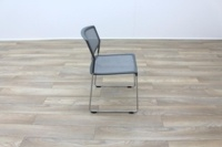Grey Mesh / Chrome Frame Cantilever Office Canteen / Meeting Chairs - Thumb 6