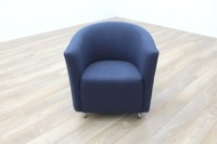 Dark Blue Fabric Office Reception Tub Chairs - Thumb 3