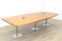 Solid Cherry Barrel Shape Office Meeting Table - Thumb 2