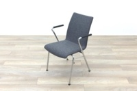 Brunner Light Grey Fabric Meeting Chair with Round Armrests - Thumb 3