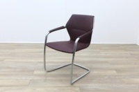Brunner Burgundy Leather Cantilever Meeting Chair - Thumb 3