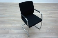 Ocee Design Black Fabric Cantilever Office Meeting Chairs - Thumb 2