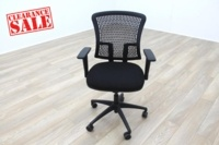 New Cancelled Order Black Fabric / Plastic Mesh Back Office Task Chairs - Thumb 2