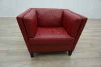 Red Leather Italian Single Seater Office Reception Arm Chair - Thumb 3