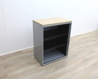 Grey Metal Tambours With Two Shelves - Thumb 4