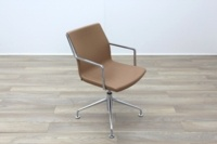 Kron Tan Brown Leather Executive Office Meeting Chairs - Thumb 5