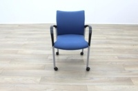 Senator Blue Fabric Stacking Office Meeting Chairs on Castors - Thumb 4