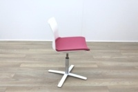 Dynamobel White Back Pink Fabric Seat Meeting Chair - Thumb 5