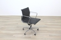 Eames Style Black Ribbed Office Task Chair - Thumb 2