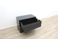 Two Drawer Black Metal Side-Filing Cabinet - Thumb 3
