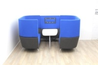 Dark Blue Orangebox meeting sofa with table and tv - Thumb 2