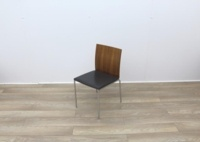 Walnut With Leather Seat Meeting Chairs - Thumb 2