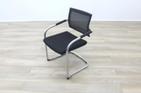 Black Fabric Seat / Charcoal Fleck Back Office Meeting Chairs - Thumb 4