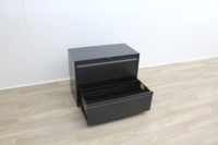 Two Drawer Black Metal Side-Filing Cabinet - Thumb 4