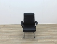 Black Faux Leather Meeting Chairs With Folding Back - Thumb 2