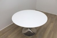 White Round Table With Chrome Base - Thumb 4