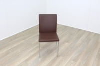 Brunner Brown Leather Chrome Base Meeting Chair - Thumb 2