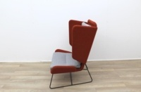 Big Red and Grey Reception Chairs With Metal Frame - Thumb 5