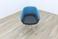 Brunner Grey and Blue Fabric Reception Tub Chair - Thumb 2