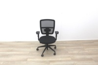 Black Mesh Back Black Fabric Seat Operator Chair - Thumb 3