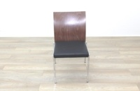 Brunner Walnut Back Black Leather Seat - Thumb 4