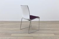 Brunner White Back Burgundy Fabric Seat Chrome Legs Meeting Chair - Thumb 7