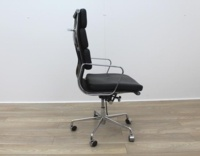Charles Eames Soft Pad Style High Back Black Leather Faced Task Chair - Thumb 7