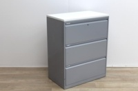 Side grey metal filing cabinets finish with wood top  - Thumb 3