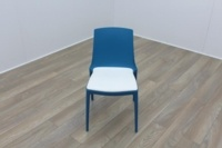 Brunner Blue with White Leather Seat Canteen Chair - Thumb 2