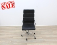 Charles Eames Soft Pad Style High Back Black Leather Faced Task Chair - Thumb 2