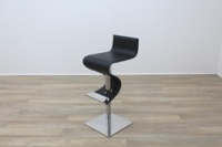 Black Leather Crome Base Bar Stool - Thumb 3