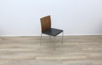 Walnut With Leather Seat Meeting Chairs - Thumb 6