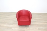 Red Leather Office Reception Tub Chairs - Thumb 5